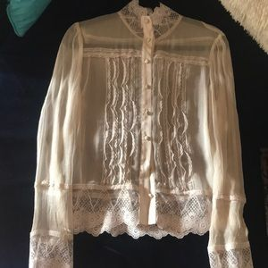 Ivory lace and silk blouse